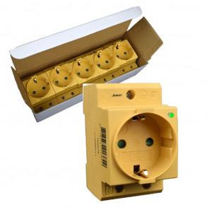 SEP CWCD-GIY stopcontact 2p+PE, led, DIN-mod (GEEL)