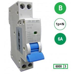 SEP INS18-B06 inst. 1p+n B6 6kA (18mm)