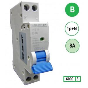 SEP INS18-B08 inst. 1p+n B8 6kA (18mm)