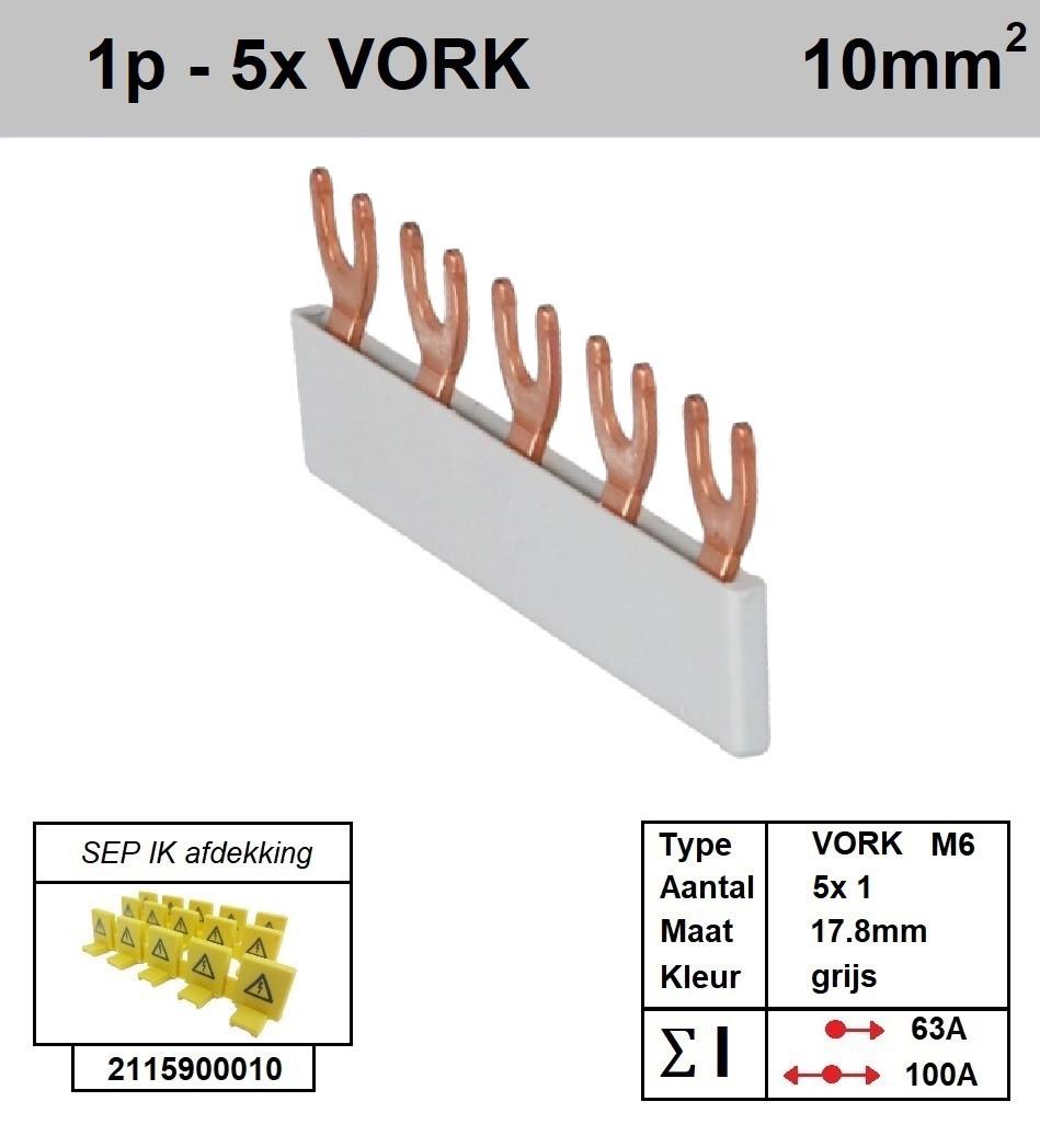 Schotman Elektro - SEP aansluitrail VORK-M6 5x1 aansluitingen 17.8mm