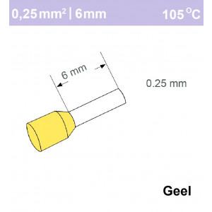 Schotman Elektro - SEP adereindhuls enkelvoudig 0,25mm2 lengte 6mm geisoleerd