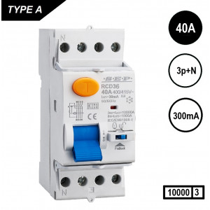 Schotman Elektro - SEP RCD36 aardlekschakelaar 3p+n, 40A, 300mA, 10kA, type A (36mm)