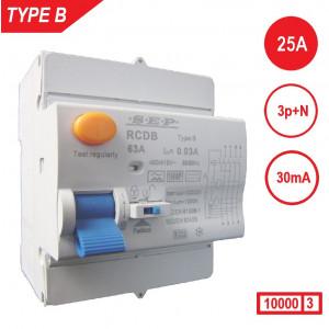 Schotman Elektro - SEP aardlekschakelaar type B, 25Amp, 30mA, 10kA kan worden toegepast als 1p+n en 3p+n. Beveiliging AC+A+B type aardlekfout stromen.