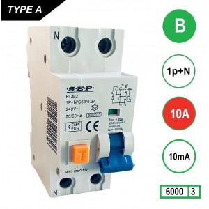Schotman Elektro - SEP RCM2 aardlekautomaat 1p+n B 10A 10mA