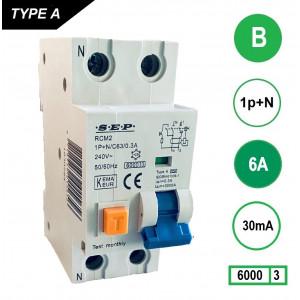 Schotman Elektro - SEP RCM2 aardlekautomaat 1p+n B 6A 30mA