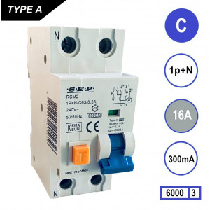 Schotman Elektro - SEP RCM2 aardlekautomaat 1p+n C 16A 300mA